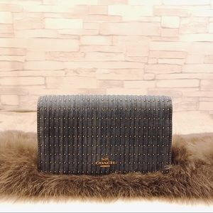 COACH Denim Callie Foldover Chain Clutch